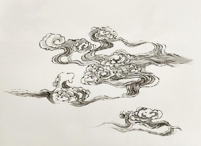 """中国山水画云的画法""""勾云法""""和""""染云法"""""""