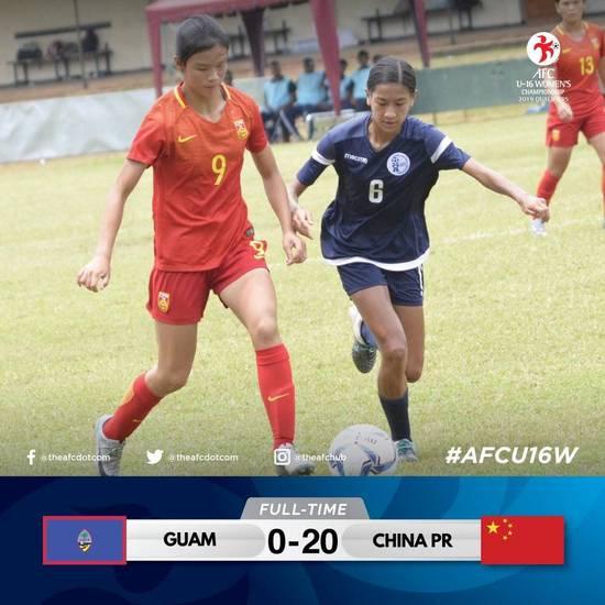【牛】U16女足亚预赛中国20-0屠关岛 1人独中6元