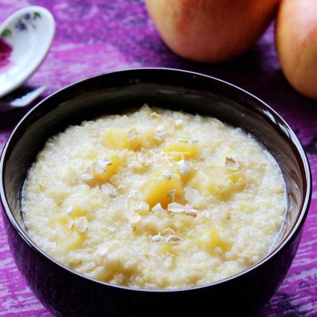 苹果燕麦小米粥,香甜美味,早餐吃它最营养