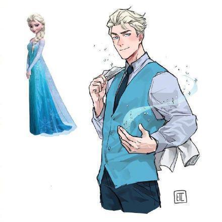 迪士尼公主性轉變王子,安娜樂開瞭花,姐姐終於變帥哥瞭!
