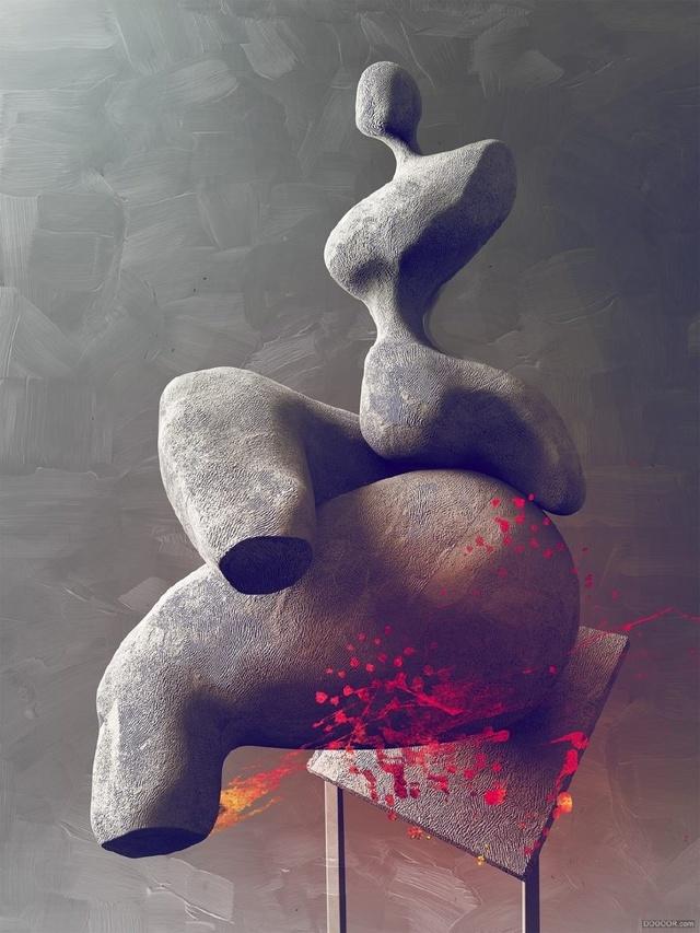 男性人体石材欧洲抽象人体雕塑