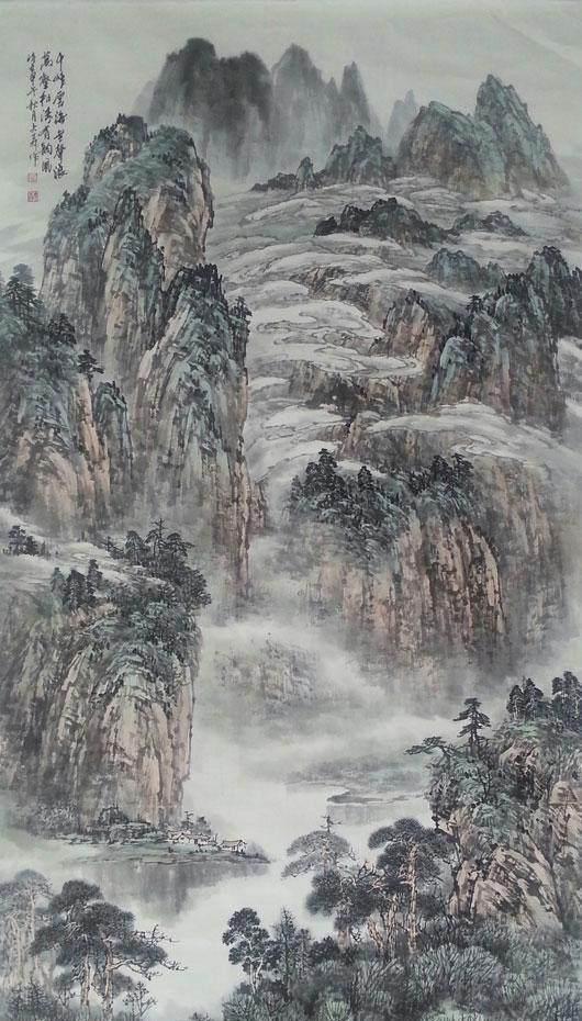 山水畫該有的大氣一點也能不少!大森的水墨!