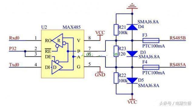 RS485电路三个电阻为什么都要并联接二极管?二极管方向怎么选择