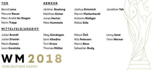 德国公布世界杯初选名单金童落选 格策四年来
