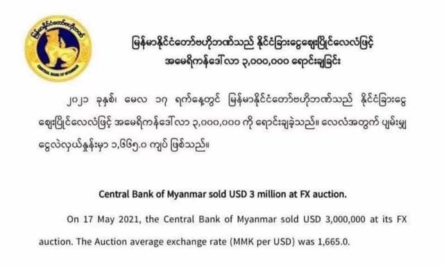 為穩定匯率 緬甸央行在一周內累計拋售1500萬美元
