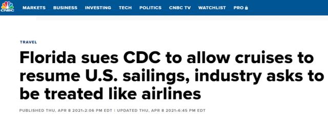 撐不住瞭?美佛州將對CDC提起訴訟,要求允許恢復郵輪航行